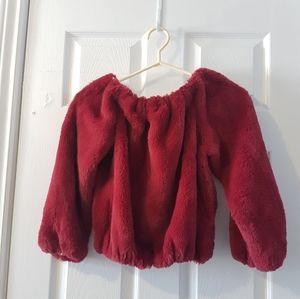 XS fuzzy plush burgundy vintage sweater